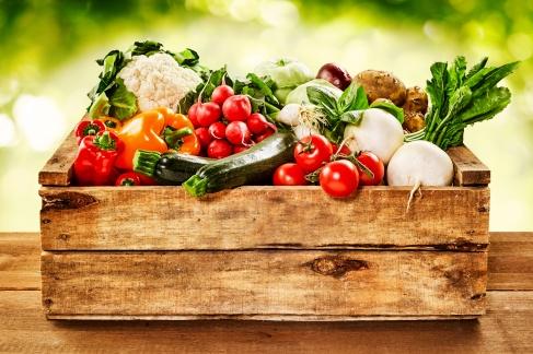 Wooden crate of veggies